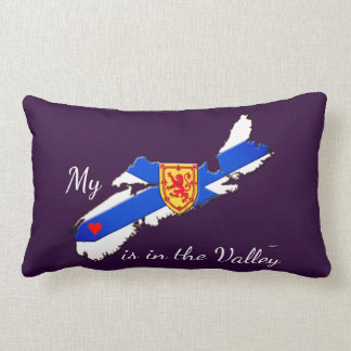 My Heart is  the valley Nova Scotia pillow purple
