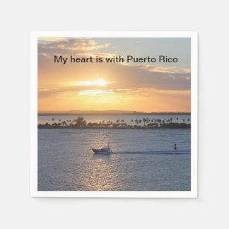 """My heart is with Puerto Rico"" cocktail napkins Disposable Napkin"