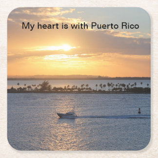"""My heart is with Puerto Rico"" sunset coasters"