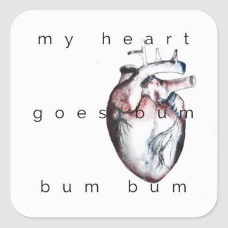 my heart square sticker