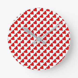 My Heart text with Red Love heart with black lines Round Clock