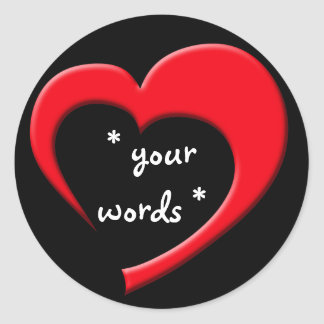 My Heart, Your Words Sticker (red on black)