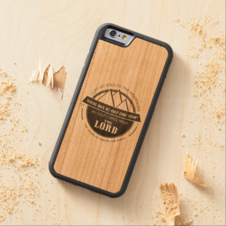 My help comes from the Lord, Mountain Logo Verse Carved Cherry iPhone 6 Bumper Case