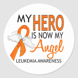 My Hero Is My Angel Leukemia Round Sticker