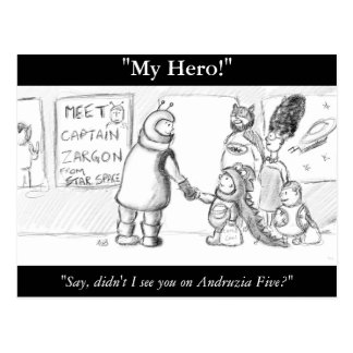 My Hero! Science Fiction Illustration Postcard