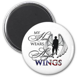 My Hero Wears Angel Wings 2 Inch Round Magnet