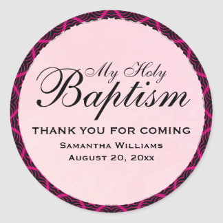 My Holy Baptism Pink Art Deco Personalized Classic Round Sticker
