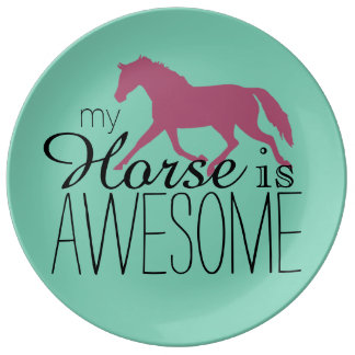My Horse Is Awesome Equestrian Porcelain Plates