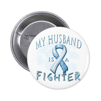 My Husband is a Fighter Light Blue Pinback Button
