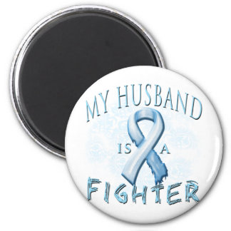 My Husband is a Fighter Light Blue Refrigerator Magnet