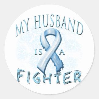 My Husband is a Fighter Light Blue Sticker