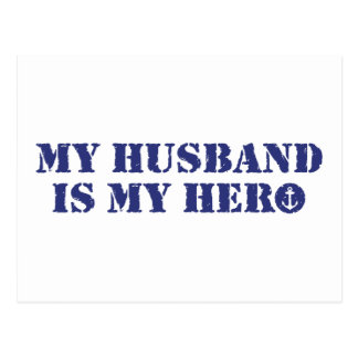 My husband is my hero postcard