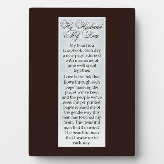 My husband my love plaque