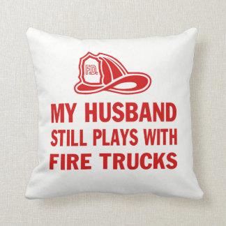My Husband Still Plays with Fire Trucks Throw Pillow