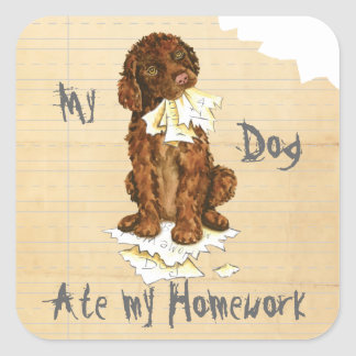 My Irish Water Spaniel Ate My Homework Square Sticker