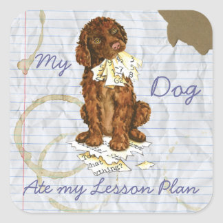 My Irish Water Spaniel Ate My Lesson Plan Square Sticker