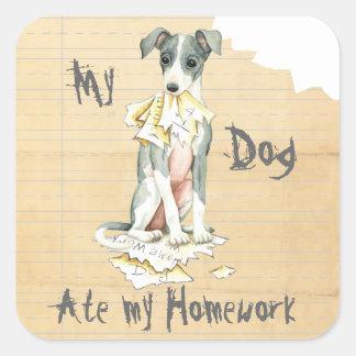 My Italian Greyhound Ate My Homework Square Sticker