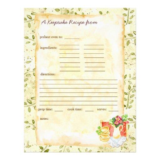 My Keepsake Recipes Pages Letterhead Design