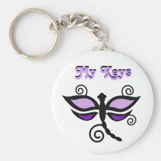 My Keys, purple & black dragonfly Keychain