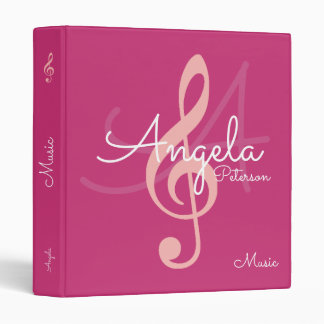 my lessons of music on monogrammed pink vinyl binder