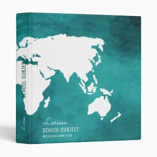 my lessons, world map turquoise blue vinyl binder
