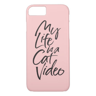 My Life is a Cat Video Black Lettering Blush Pink iPhone 8/7 Case