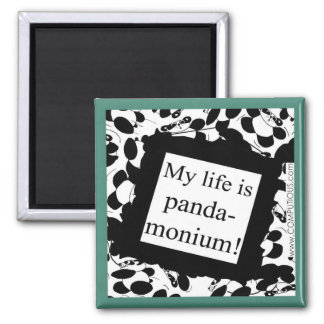 My life is panda-monium square magnet