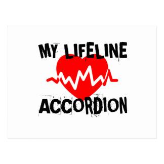MY LIFE LINA ACCORDION MUSIC DESIGNS POSTCARD