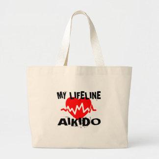 MY LIFE LINA AIKIDO MARTIAL ARTS DESIGNS LARGE TOTE BAG