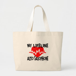 MY LIFE LINA ALTO SAXOPHONE MUSIC DESIGNS LARGE TOTE BAG