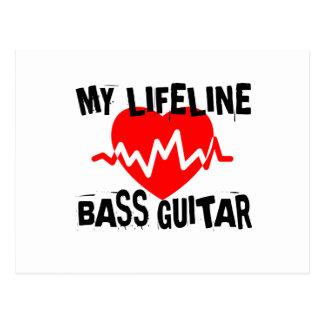MY LIFE LINA BASS GUITAR MUSIC DESIGNS POSTCARD