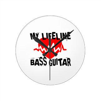 MY LIFE LINA BASS GUITAR MUSIC DESIGNS ROUND CLOCK