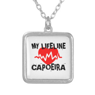 MY LIFE LINA CAPOEIRA MARTIAL ARTS DESIGNS SILVER PLATED NECKLACE
