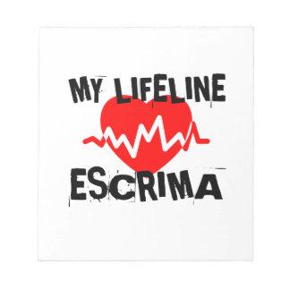 MY LIFE LINA ESCRIMA MARTIAL ARTS DESIGNS NOTEPAD