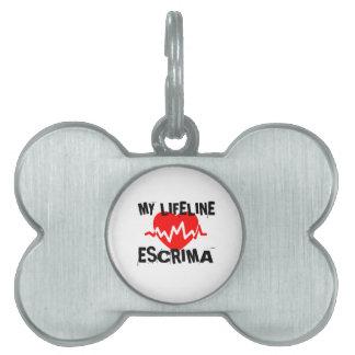 MY LIFE LINA ESCRIMA MARTIAL ARTS DESIGNS PET NAME TAG