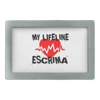 MY LIFE LINA ESCRIMA MARTIAL ARTS DESIGNS RECTANGULAR BELT BUCKLE