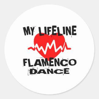 MY LIFE LINA FLAMENCO DANCE DESIGNS CLASSIC ROUND STICKER