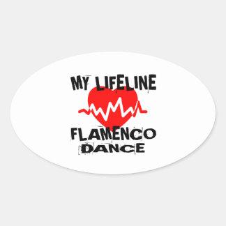 MY LIFE LINA FLAMENCO DANCE DESIGNS OVAL STICKER