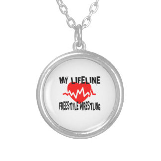 MY LIFE LINA FREESTYLE WRESTLING MARTIAL ARTS DESI SILVER PLATED NECKLACE