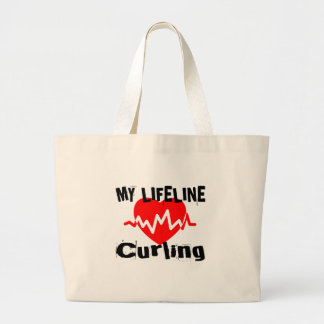 My Life Line Curling Sports Designs Large Tote Bag