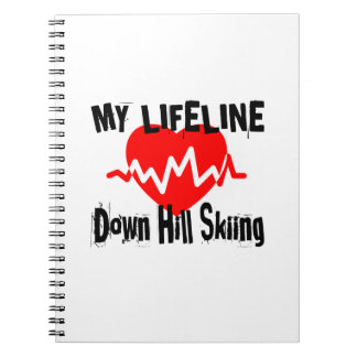 My Life Line Down Hill Skiing Sports Designs Spiral Notebook