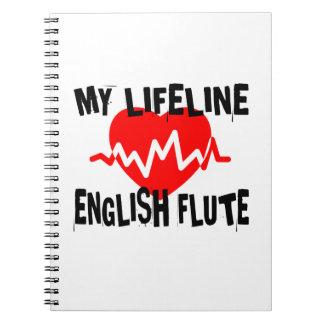 MY LIFE LINE ENGLISH FLUTE MUSIC DESIGNS NOTEBOOKS