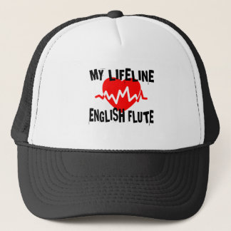 MY LIFE LINE ENGLISH FLUTE MUSIC DESIGNS TRUCKER HAT