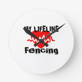 My Life Line Fencing Sports Designs Round Clock