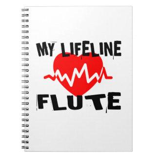 MY LIFE LINE FLUTE MUSIC DESIGNS SPIRAL NOTEBOOK