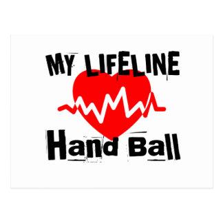 My Life Line Hand Ball Sports Designs Postcard