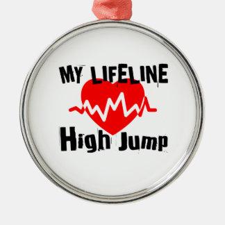 My Life Line High Jump Sports Designs Metal Ornament