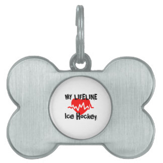 My Life Line Ice Hockey Sports Designs Pet Name Tag