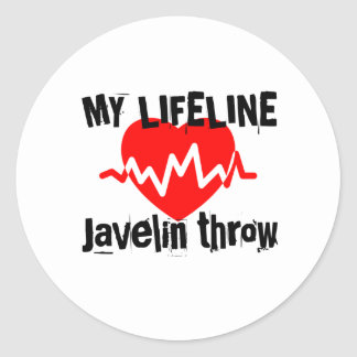 My Life Line Javelin throw Sports Designs Classic Round Sticker