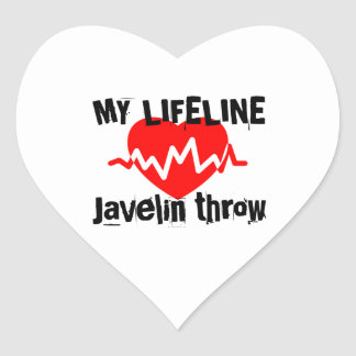 My Life Line Javelin throw Sports Designs Heart Sticker